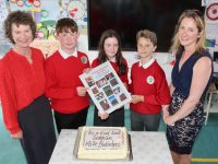 The Derryquay NS sixth class pupils Thomas Sheehy, Saoirse Mehigan and Diarmuid Waugh (missing is Ryan Houlihan) with retiring principal Siobhan Uí Dhonaill and teacher Bríd Nic Gearailt. Photo by Dermot Crean