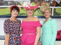 Laura Horgan, Finuge, Diane Jeffers, Ardfert and Nollaig McCarthy, Finuge, at Listowel Races Ladies Day on  Sunday. Photo by Dermot Crean