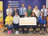 At the presentation of a cheque to Darkness Into Light Tralee on Thursday morning at Permanent TSB were, front, from left; Pat Turner, Chairperson Of DIL Tralee Ann Leahy O'Shea, Con O'Connor of Pieta House, Manager of Permanent TB Tralee Marie Nelligan and Aine Culloty of Permanent TSB. Back from left; Jordan Conway, Rose Dowling, Thomas Fortune and Niamh O'Carroll of Permanent TSB; Martin Brosnan of DIL Tralee and Paul Carroll of Permanent TSB. Photo by Dermot Crean