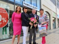 Looking forward to the Play In Pink event in Tralee Golf Club were Manager of Pamela Scott's Tralee, Gillian Riordan, Lady Captain of Tralee Golf Club Fionnuala Mann, Men's Captain John O'Brien and Carole Dooley. Photo by Dermot Crean