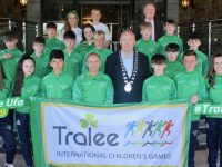 The Tralee International Children's Games team and coaches with Mayor of Tralee Jim Finucane at The Rose Hotel on Friday evening. Photo by Dermot Crean