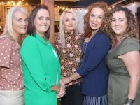 Aileen Mahony, Therese Carroll, Mairead Enright, Catherine Leen and Lisa McCarthy at the University Hospital Kerry Sports and Social Club barbecue in Benner's Hotel on Friday night. Photo by Dermot Crean