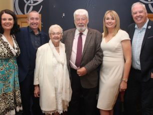 Johnnie and Tina Wall with children Mary Ruane, Mikey Wall, Kathleen Wall and John Wall at their 50th anniversary celebration at the Brandon Hotel on Saturday night. Photo by Dermot Crean