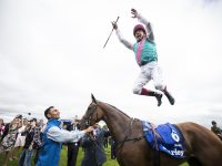 Enable (Frankie Dettori) easily take the Darley Irish Oaks. The Curragh. Photo: Patrick McCann 15.07.2017