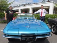 David Foley with Padraig McGillicudddy and his 1965 Corvette Stingray at at the Cannonball Retro Run at Ballygarry House Hotel on Saturday. Photo by Dermot Crean