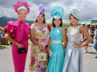 Jean Leahy, Nadine Smith, Mary Woulfe and Siobhan Kennedy at Dawn Milk Ladies Day at Killarney Races on Thursday. Photo by Dermot Crean