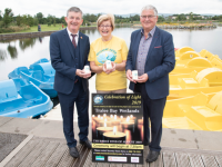 Chief Executive of the Rose of Tralee Festival Anthony O'Gara with Maureen O'Brien and Dermot Crowley of Recovery Haven launching Celebration of Light at the Wetlands on Monday. Photo by Joe Hanley