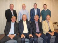 Only the 52 senior All-Irelands between them...in front Ogie Moran, Ger Power, Ger O'Keeffe and John O'Keeffe. At back; Mikey Sheehy, Sean Walsh, Darragh Ó Sé and Marc Ó Sé at the Comfort For Chemo Kerry Terrace Talk All-Ireland Preview at The Rose Hotel on Thursday night. Photo by Dermot Crean