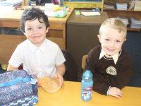 Junior Infants at Gaelscoil Mhic Easmainn on their first day at school on Thursday. Photo by Dermot Crean