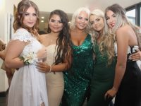 Abbie McGill, Tia Moriarty Kelly, Claudia O'Rahilly, Dion Bauschlicher and Jasmina George at the Presentation Students' Debs Ball at Ballyroe Heights Hotel on Thursday night. Photo by Dermot Crean