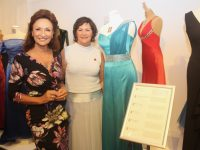 Celia Holman Lee with Oonagh O'Gara at the official opening of the 'Gowns Of Glory' Exhibition at Kerry County Museum on Friday evening. Photo by Dermot Crean