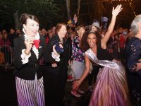 Dancing the night away at the end of the parade on Saturday night. Photo by Dermot Crean