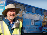 Brian Burnie and his Bluebell bus.