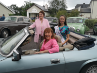 Pictured at the Kingdom Veteran Vintage and Classic Car Club Coffee Morning at Ballygarry House Hotel were, seated front, Veronica Blennerhasset (1973 Rose of Tralee), seated back, Kerry Rose Sally-Ann Leahy and standing, Therese Collins (1965 Rose of Tralee).