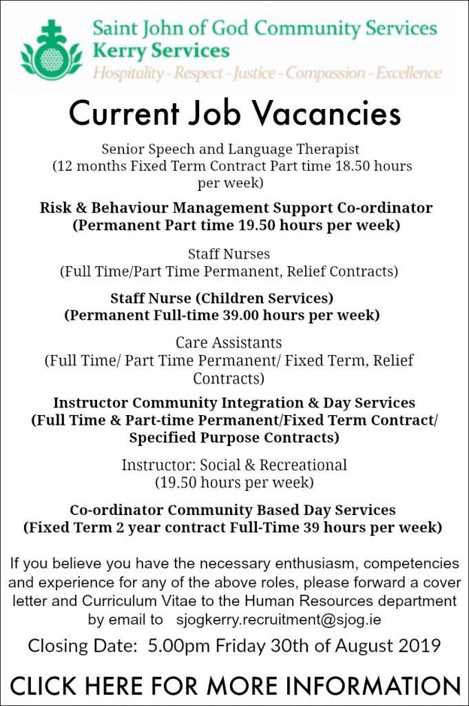 Sponsored: Number Of Job Vacancies At St John Of God Kerry Services ...