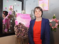 Rebecca Lyons with some of her origami art at Syphon Coffee Bar and Lounge on Culture Night. Photo by Dermot Crean