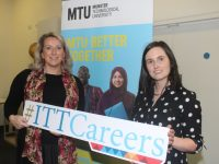 Marilyn Moynihan and Kelly Teahan at the IT Tralee Careers Fair on Wednesday. Photo by Dermot Crean