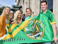 Tara Guerin, Linda Sugrue, Laura O'Connor and Aaron O'Connor outside The Gresham Hotel up for the match in Dublin on Saturday. Photo by Dermot Crean