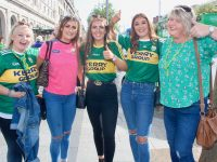 Catherine Dillon, Laura O'Sullivan, Eimear Talbot, Rachel Moynihan and Denise Counihan outside The Gresham Hotel up for the match in Dublin on Saturday. Photo by Dermot Crean