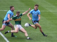 Stephen O'Brien tackled during the drawn game two weeks ago. Photo by Dermot Crean