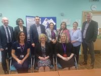 Local Implementation Team at UHK :   From L to R standing Fearghal Grimes General Manager, Ms Eimear Conroy Orthopaedic Surgeon, Mr John Rice Orthopaedic Surgeon, Mareeda de Róiste Business Lead, Kerry Mc Auliffe Director of Nursing, Ann Mc Namara Clerical Officer, Tom Bannon Office of CIO  Seated L to R: Sinead Healy Orthopaedic CNS, Dr Niamh Feely clinical Director, Suzanne Rowley INOR Manager
