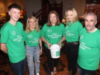 Sam Nealon, Fionnuala Ní Mhatúna, Siobhan Ní Mhathúna, Emma Hartnett and Seamus O'Connor at the fundraising barbecue for the Irish Motor Neurone Disease Association at Meadowlands Hotel on Friday night. Photo by Dermot Crean