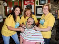Marisa Reidy, Kathleen Collins and Maureen O'Brien eyeing up Eamonn Kirby's beard which will be shaved off at the end of November as part of Recovery Haven's Movember Fundraiser. Photo by Dermot Crean