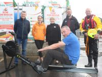 Vincent Lynch (in front) of Nolan's Londis on North Circular Road prepares for the 'Row For Rescue' fundraiser next month. Also included at back is Niall Nolan of Nolan's Londis, Julie Conway, Maureen Greaney, Michael Slattery of Kerry Mountain Rescue and Frank O'Brien of Banna Rescue. Photo by Dermot Crean