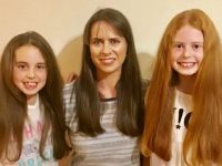 Majella O'Connell with daughters Meabh and Maria who are cutting and donating their hair to the Little Princess Trust.