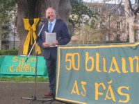 Tommy Collins speaking  at the Save The Green 50th anniversary celebration on Friday evening. Photo by Dermot Crean