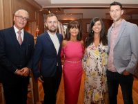 Catherine Sugrue (centre with husband Joe, son Joseph, daughter Emma and son-in-law Brendan Poff at her retirement party at Ballygarry House Hotel on Friday night. Photo by Dermot Crean