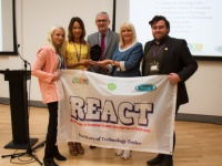 Representatives from IT Tralee collect the REACT award from Minister Mary Mitchell O'Connor.