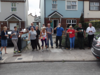 Some of the residents of Ballyrickard court on a well deserved relay break from the annual estate tidy up. Missing from photo all the other residents who were still working!
