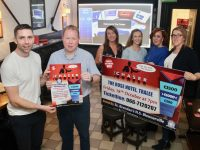 Former Kerry star Marc Ó Sé helps launch 'The Chaser' at Skelper Quane's Bar on Thursday evening with Principal of St Brendan's NS Blennerville Robbie O'Connell and organising committee members Claire Flynn, Louise Brassil, Rebecca Roche and Nora Corridon. Photo by Dermot Crean