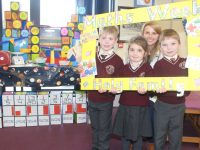 Teacher Ciara Culloty with pupils taking part in activities during Holy Family Maths Week. Photo by Dermot Crean