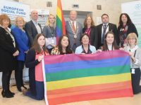 With the LGBT+ Pride Flag at Kerry ETB offices on Wednesday morning were, in front; Marie Lynch, Grace Brosnan, Noreen McEnery, Aisling OLeary and Aoife McCormack. At back; Martina Ronan, Marian Sugrue, Seamus Whitty, Krenare Jashari, Mayor of Tralee and  Cathaoirleach of Kerry ETB Jim Finucane, Karen O'Connor and Betty Corkey. Photo by Dermot Crean