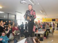 Musician Liam O'Connor rocks the canteen in Kerry College Clash campus. Photo by Dermot Crean