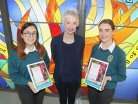 Mercy Mounthawk students Michalina Gora and Cora Savage with teacher Olivia Dineen. Photo by Dermot Crean