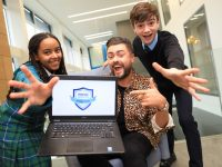 10/10/19. NO FEE. NO REPRO FEE. JULIEN BEHAL PHOTOGRAPHY.   Bank of Ireland Youth Ambassador James Patrice is pictured at the launch of the Bank of Ireland Money Smarts Challenge, with students Katie Farmer (15) from Castleknock and Colin Eiffe (13) from Rathcoffey. The Money Smarts Challenge is a new secondary school competition that will see students learn essential Financial Wellbeing skills while competing for the chance to win the top prize of €25,000 for their school. 18 national Money Smarts finals hosted by James Patrice will take place between November and February 2020, with the Grand Final taking place in Citywest in April 2020.  JULIEN BEHAL PHOTOGRAPHY. NO FEE.