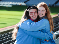 Leah Williams-Morgan (14) and Grainne Leahy (14) of St Brendan's Guides, Tralee, pictured at the National Guide Awards, Croke Park, where they received Irish Girl Guides' highest award – the Trail Blazer National Guide Award.