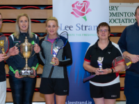 Timmy Hanrahan, and Breda Lane being presented with The Waterstone Cup by Edel Kenny Treasurer Kerry Badminton along with runners up  Carmel Hudson and Jason Russell.