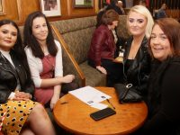 Nicole Heaphy, Laura Fitzgerald, Lisa Heaphy and Ciara Fitzgerald at the table quiz in the Ballymac Bar in aid of Coláiste Gleann Lí/Comfort For Chemo Kerry on Friday night. Photo by Dermot Crean