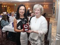 DR Patricia O'Hare, Research and Education Officer, Trustees of Muckross House, Killarney was presented with the Kerry Heritage Award, 2019, by Marie O'Sullivan, President, Kerry Archaeological and Historical Society, at the Society's annual lunch in the Rose Hotel, Tralee, on Sunday. Photo by Dermot Crean