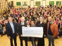 Principal of Presentation Primary John Hickey accepts the cheque for €4,000 from members of the Parents Council, Donal O'Callaghan, Tamara Bagaglini  Grainne Foley Joy and Massimiliano Bagaglini (missing from photo is Sharon Mulhall). Photo by Dermot Crean