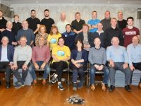 The participants, barbers and volunteers from Recovery Haven at the shave-off in the Rose Hotel. Photo by Dermot Crean