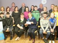 Linda Ring with family presenting a cheque for €900 to Maureen O'Brien of Recovery Haven on Tuesday evening. Photo by Dermot Crean