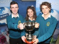 Mercy Mounthawk students Sean Hennessy, Diana Meriakri and Felix Walker, winners of the ISTA Science Quiz at IT Tralee South Campus on Thursday night. Photo by Dermot Crean