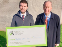 Ministee Brendan Griffin and Mayor of Tralee Cllr Jim Finucane announcing the grant for Tralee Skate Park this morning.
