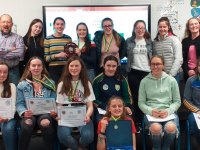 County League Winning Tralee Parnells Under 16 Camogie Team with Medals