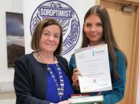 Mercy Mounthawk student Laura Foley with President of the Killarney Soroptimist Club, Teresa Irwin.